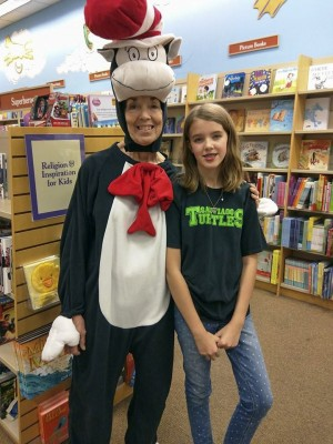 The Cat in the Hat and Amara at the Book Fair