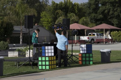 The Stage and the giant Rubik's Cubes