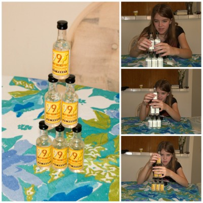 Amara and the Butterscotch Schnapps bottles